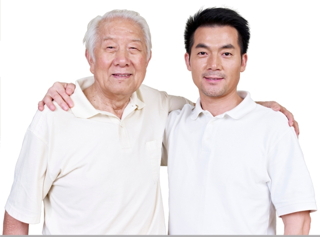 portrait of asian father and son.